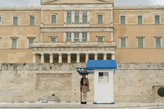 Athens, Greece, 30 May 2015. Evzone standing in position guarding the parliament of Greece. Royalty Free Stock Images
