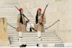 Athens, Greece, 30 May 2015. Evzones guard change in front of parliament of Greece. Royalty Free Stock Photos