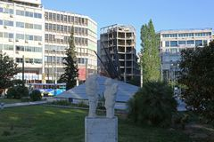 Fallen Aviators Monument Athens. ATHENS, GREECE - MAY 04, 2015: Fallen Aviators Monument Icarus at Karaiskaki Street in Athens, Greece Stock Photography