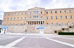 The greek parliament with the greek Evzones soldiers Syntagma Athens Greece Royalty Free Stock Photography