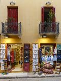 Tourist shop in Plaka, Athens. Athens, Greece - May 19, 2018: Store front of a tourist shop in the main shopping district of Plaka neighbourhood in Athens Stock Photos
