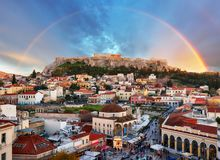 Free Athens, Greece -  Monastiraki Square And Ancient Acropolis With Rainbow Royalty Free Stock Images - 143572439