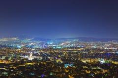athens greece natt Royaltyfri Fotografi