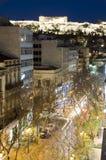 Athens greece night  parthenon car traffic Stock Photo