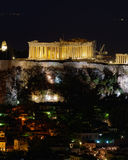 Athens Greece, night view of Parthenon royalty free stock image