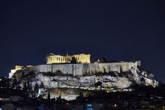 Athens, Greece, night view of Parthenon temple Stock Photography