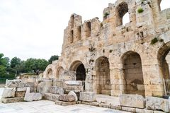 Athens, Greece - 25.04.2019: Northern wall of the Athene Amphitheater, antique Greece. royalty free stock photos