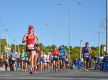 Athens Classic Marathon.Over 45,000 athletes from dozens of countries took part in the classic authentic marathon royalty free stock photos