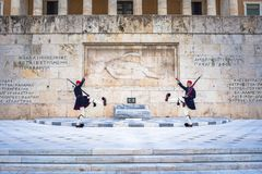 Evzones in front of the Tomb of the Unknown Soldier at Syntagma square Royalty Free Stock Images