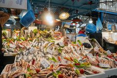 Fish seafood variety for sale at a store display in Athens, Greece