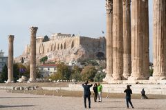Athens, Greece - November 15, 2017: Iconic pillars of Temple of Olympian Zeus, Athens historic center. Athens, Greece - November 15, 2017: Iconic pillars of Royalty Free Stock Image