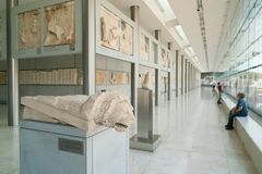 Athens, Greece - November 15, 2017: Interior View of the New Acropolis Museum in Athens. Designed by the Swiss-French Royalty Free Stock Image