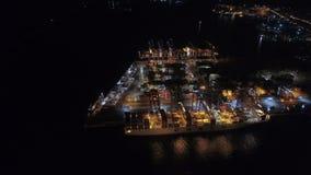 Athens, Greece - November 15, 2017: night aerial view of Perama cargo port. Piraeus Container Terminal stock video footage