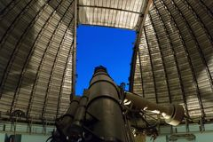 Athens, Greece 5 November 2016. Observing the night sky with a big telescope at Penteli observatory Royalty Free Stock Photo