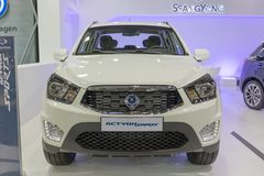ATHENS, GREECE - NOVEMBER 14, 2017: SsangYong Actyon Sports at Aftokinisi-Fisikon 2017 Motor Show. The SsangYong Actyon is available either as an SUV Actyon or Royalty Free Stock Photos