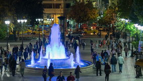Athens, Greece 11 November 2015. Time lapse of an ordinary night life at Sintagma Athens square with people and tourists in Greece stock video footage