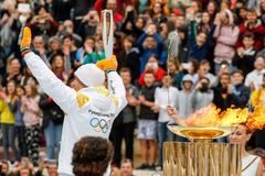 Ceremony of the Olympic Flame for Winter Olympics. Athens, Greece - Oct 31,2017: The Olympic flame was handed to organizers of the Pyeongchang South Korean stock image