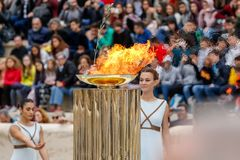 Ceremony of the Olympic Flame for Winter Olympics Royalty Free Stock Photo