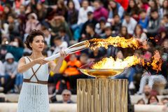 Ceremony of the Olympic Flame for Winter Olympics. Athens, Greece - Oct 31,2017: The Olympic flame was handed to organizers of the Pyeongchang South Korean royalty free stock photos