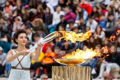 Ceremony of the Olympic Flame for Winter Olympics. Athens, Greece - Oct 31,2017: The Olympic flame was handed to organizers of the Pyeongchang South Korean Royalty Free Stock Images