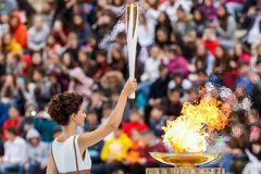 Ceremony of the Olympic Flame for Winter Olympics. Athens, Greece - Oct 31,2017: The Olympic flame was handed to organizers of the Pyeongchang South Korean Royalty Free Stock Photography