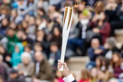 Ceremony of the Olympic Flame for Winter Olympics. Athens, Greece - Oct 31,2017: The Olympic flame was handed to organizers of the Pyeongchang South Korean Stock Images