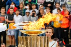Ceremony of the Olympic Flame for Winter Olympics. Athens, Greece - Oct 31,2017: The Olympic flame was handed to organizers of the Pyeongchang South Korean Royalty Free Stock Image