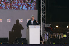 Athens, Greece 10 October 2015. Public speech of the left wing chairman Dimitris Koutsoubas in the every year KKE festival. Royalty Free Stock Images