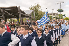 Athens, Greece, 28 October 2015. Student parade in yearly national celebration of Ochi day against the Italians. Royalty Free Stock Photos
