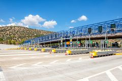 09.17.2018 Athens. Greece. Olympiapass. Point of payment for the use of the autobahn stock image