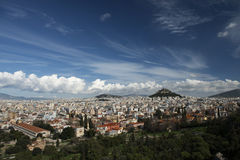 Athens greece panoramic view from acropolis. Royalty Free Stock Images