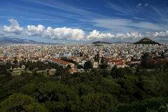 Athens greece panoramic view from acropolis. Royalty Free Stock Image