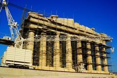 Athens Greece Pantheon. Reconstruction project. Side view Stock Photo