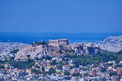 Athens Greece, Parthenon on acropolis hill over Plaka Stock Photos