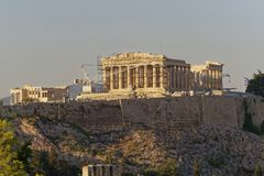 Athens Greece, Parthenon ancient temple on Acropolis hill royalty free stock image