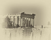Athens, Greece, Parthenon temple on Acropolis, instagram filtered Stock Photography