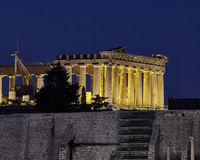 Athens, Greece, Parthenon temple night view Royalty Free Stock Photography