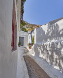Athens Greece, picturesque alley at Anafiotika, an old neighborhood under acropolis Royalty Free Stock Images