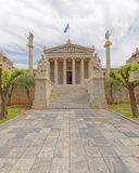 Athens Greece, Plato and Socrates statues in front of the national academy neoclassical building. Central perspective Stock Photos