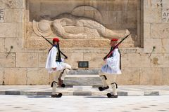 Athens, Greece - 27.04.2019: Presidential guards perform a ceremonial change of guard in front of the Tomb of the Unknown soldier stock photography
