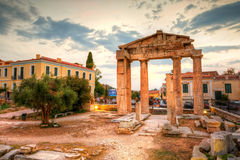 Athens, Greece. Remains of the Gate of Athena Archegetis and Roman Agora in Athens, Greece. HDR image Royalty Free Stock Photos