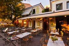Athens, Greece. Restaurant near ancient Agora which is in one of the most charming streets of the old town of Athens Stock Photo