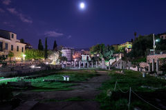 Athens Greece, the roman forum under the moonlight Stock Images