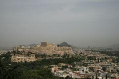 Athens, Greece - Sahara dust covers the city Stock Image