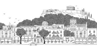 Seamless banner of Athens, Greece. Athens, Greece - Seamless banner of the city's skyline, hand drawn black and white illustration Royalty Free Illustration