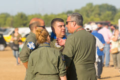 Athens, Greece 13 September 2015. Air force pilots are discussing at the Athens flying week air show. Stock Image