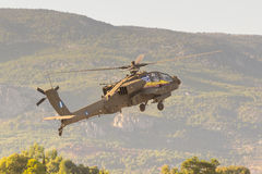 Athens, Greece 13 September 2015. Apache helicopter taking off at the Athens air week flying show. Stock Images