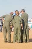 Athens, Greece 13 September 2015. Hellenic air force team is ready for the Athens flying week show. Royalty Free Stock Photos