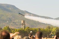 Athens, Greece 13 September 2015. Melissa Pemberton doing aerobatics at the Athens air week flying show. Stock Photos