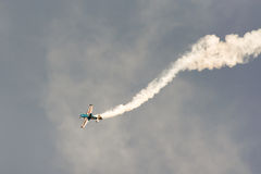 Athens, Greece 13 September 2015. Melissa Pemberton doing her flight show at the Athens air week flying show. Royalty Free Stock Photography